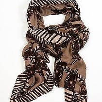 Theodora & Callum Tan Multi Birmingham Wearable Art Fringe Scarf Pareo Wrap Photo