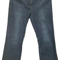 Theory 10 Raw Hem Boot Cut Jeans Blue Distressed Medium Wash Denim  Photo