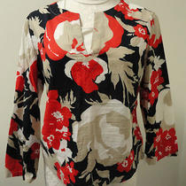 Theory  100% Cotton  Floral Red & Navy Tunic Top Sz L Photo