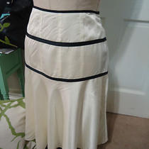 Theory  (4)  Fabulously Chic Ivory/black Flowy a-Line Skirt - Euc Photo