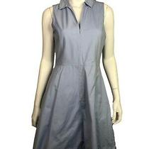Theory 6 Shirt Dress Collared Flare Cahliway Blue Sleeveless a-Line Cotton Blend Photo