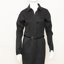 Theory Acasia Favor Black Nb Cotton Skirt Belt Shirt Work Dress Barneys Sz 4/m Photo