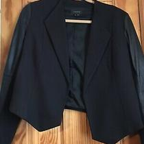 Theory Amada Blazer Jacket With Leather Sleeves Size 4 Preowned Photo