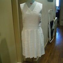 Theory Amazing  White Sleeveless  Stretch Linen Blend Pleated Bottom Dress Sz 8 Photo