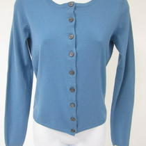 Theory Aqua Blue Wool Long Sleeves Crewneck Button Front Cardigan Sweater Top M Photo