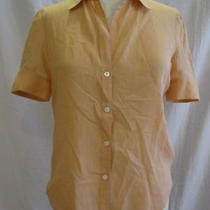 Theory Barneys New York Peach Short Sleeve Shirt M 8/10 Photo