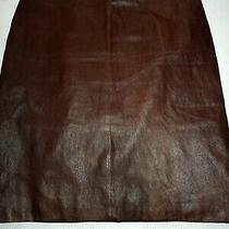 Theory Beautiful 100% Leather Soft Brown Knee Length Skirt Size 10 Photo
