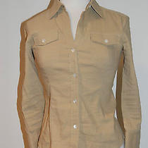 Theorybeige/khaki Cotton Button Front Linen/cotton Sz P Photo