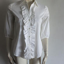 Theory Bergdorf Goodman  Top Szs White Ruffle Front in Great Condition Photo
