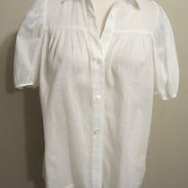Theory Bergdorf Goodman Women's White Sheer Puffy Sleeve Button Down Shirt S Photo