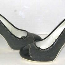 Theory Bijoux Black Vinyl/canvas Woman Shoes Sz 36 Euro Photo