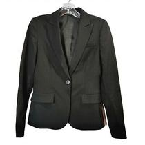 Theory Black Blazer Jacket Long Sleeve Button Front Business Wool Womens Size 2 Photo