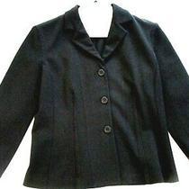 Theory Black Blazer Jacket Size Small Button Down Stretch Blend 3/4 Sleeve Photo
