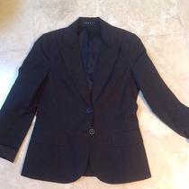 Theory Black Blue Pinstripe Lined Two Button Two Pocket Jacket Blazer Sz-4 S New Photo