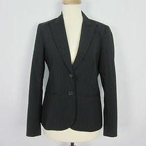 Theory Black Blue Pinstripe Lined Two Button Two Pocket Jacket Blazer 2 Xs Photo