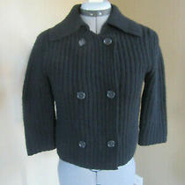 Theory Black Cardigan Sweater Buttons Collar 3/4 Sleeves Wool/cashmere Size M Photo
