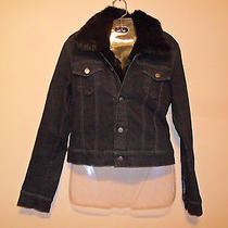 Theory Black Denim Rabbit Fur Jacket L Photo