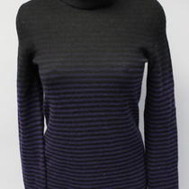 Theory Black Empire Waist Purple Striped Cashmere Turtleneck Aleta Sweater Sz S Photo