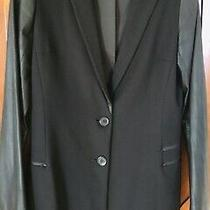 Theory - Black Jacket With Leather Sleeves Abd Accents Zipper Pockets Size 8 Photo
