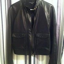 Theory Black Leather Bomber Bike Jacket Size Medium Photo
