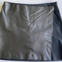 Theory Black Mini Skirt With Leather Flap Size 2 Photo