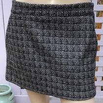 Theory Black/off-White Stretch Wool/cashmere Raymond/vivid Mini Skirt (10) New Photo