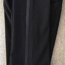 Theory Black Straight Leg Satin Side Stripe Stretchy Wool Trousers Pants Sz 4 Photo