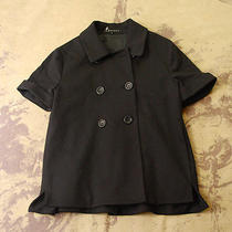 Theory Black Stretch Knit Short Sleeve 60's Mod Audrey Hepburn Jacket Coat Top S Photo