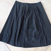 Theory Black Taffeta Petunia  a Line Skirt 4 Photo