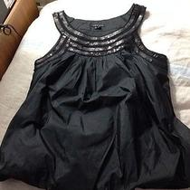 Theory Black Taffeta Sequins Tank Bubble Top Blouse Small Euc Photo