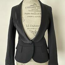 Theory Black Tuxedo Blazer Jacket Sz S Wool Blend Fitted Suit Satin Photo
