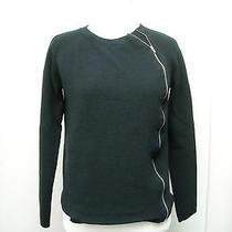 Theory Black Wool Cynth C. Asymmetrical Zip Cardigan Sweater P Photo