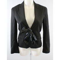 Theory Black Wool Long Sleeve v-Neck Tie Waist Fitted Blazer Sz S Photo
