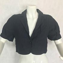 Theory Blazer Jacket Cropped Silk Linen Navy Blue Women Size 10 Casual Career Photo
