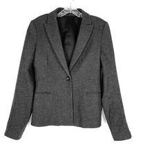 Theory Blazer Jacket Womens 8 Gray Wool Single Button Suit Career Boyfriend Andy Photo