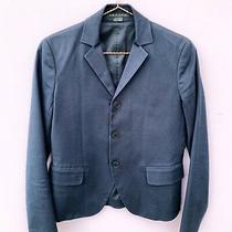 Theory Blazer Triple Button Jacket Cotton Blend Size 0 Outerwear Navy Pockets Photo