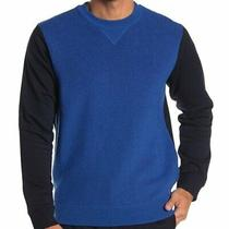 Theory Blue Black Colorblock Hybrid Wool Blend Sweater Sweatshirt Nwt Size Large Photo