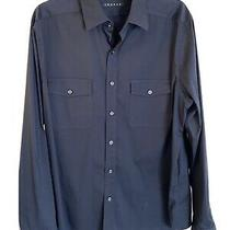 Theory Blue Button Down Stretchy L Mens Photo