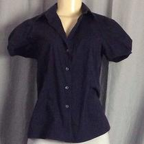 Theory Blue Solid Collared Top Sz M Photo