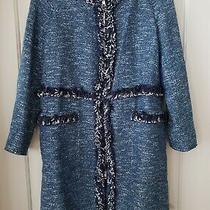 Theory Blues/white Tweed Fantastic Fringe Coat Sz L Rtl 695 Photo