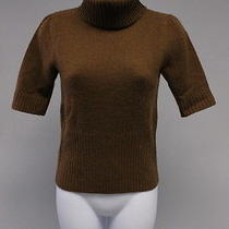 Theory Brown Cashmere Short Sleeve Turtleneck Sweater Sz P Photo