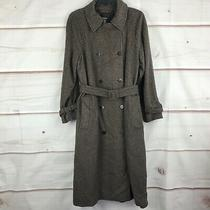 Theory Brown Houndstooth Classic Trench Style Wool Blend Coat Womens Size L Nwt  Photo