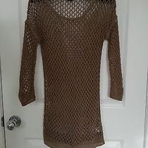 Theory Brown See-Through Loosely Knitted Top Size M Photo