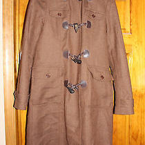 Theory Brown Wool Toggle Coat Rabbit Fur Hood S Photo