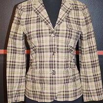 Theory Browns/greens Cotton/elastane Blazer Size 2 Fun Plaid Photo