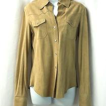 Theory Buttoned Suede Leather Shirt Blouse M Photo