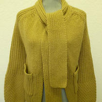 Theory Cardigan Size L Tan Cashmere Wool Women's Sweater With Scarf Cable Knit Photo