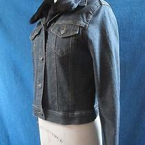Theory Classic Dark Denim Jean Jacket With Black Rabbit Fur Removable Vest Photo