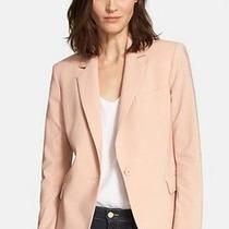 Theory Classic Gabe Stretch Wool Blush Pink Blazer One Button Tailored Jacket 12 Photo