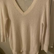 Theory Cotton Cashmere 3/4 Sleeve Cream Tunic Sweater Size P/tp Photo